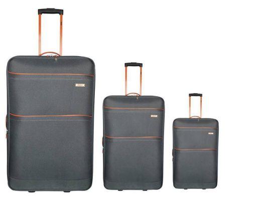 Tosca - Traveller 3 Piece Trolley Set 50cm, 60cm, 70cm (Grey/Orange)