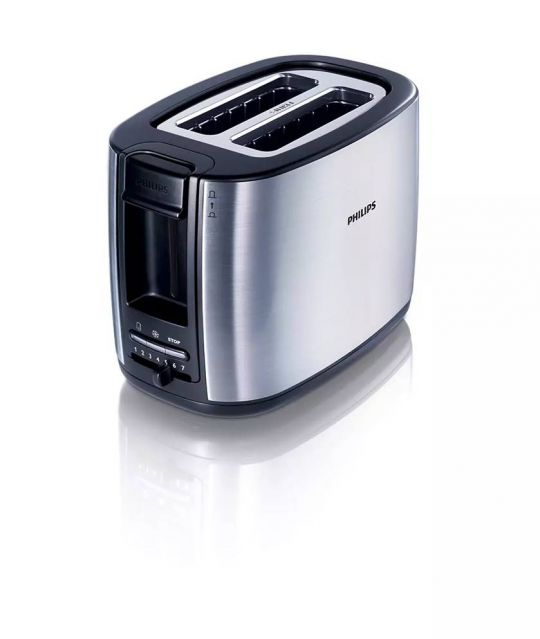 Philips - HD2628/20 Toaster Black,Metal Brush