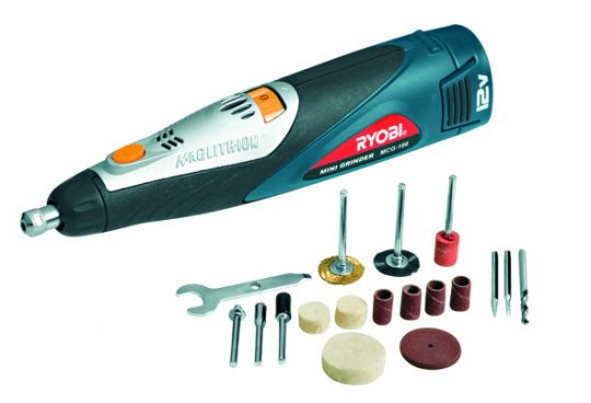 Ryobi - Cordless Miniature Grinder with Tool Kit, 12V Maglithion with Battery & Charger