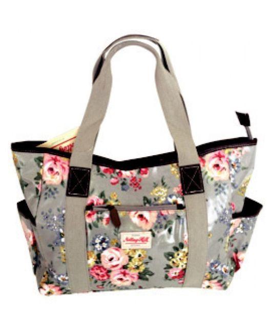Notting Hill - Large Canvas Handle Handbag (Grey Floral)