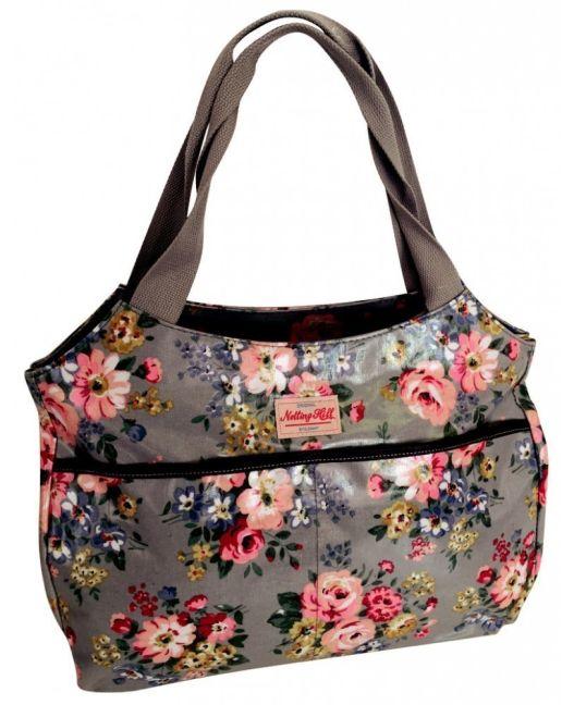 Notting Hill - Side Pocket Handle Handbag (Grey Floral)
