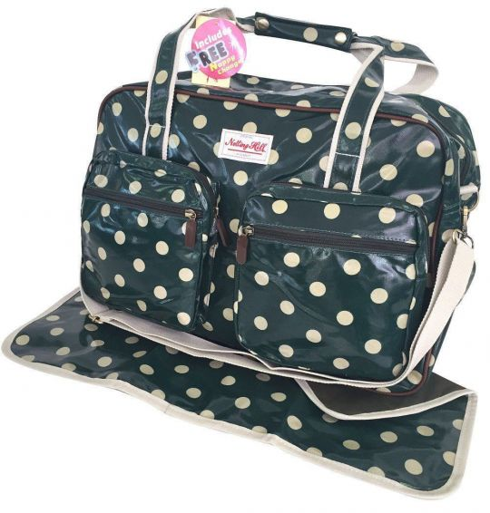 Notting Hill - Two Pocket Nappy Bag With Free Nappy Changer (Dots)