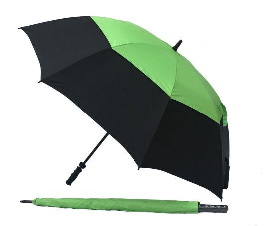 Black/Green UV Gustbuster Golf Umbrella - Fibre
