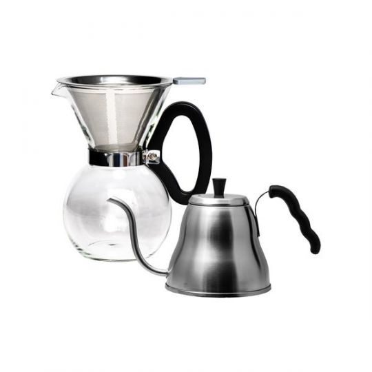 Regent - Coffee Glass Pour Over Coffee Maker 8 Cup With Drip Kettle 1 LT St.Steel Set