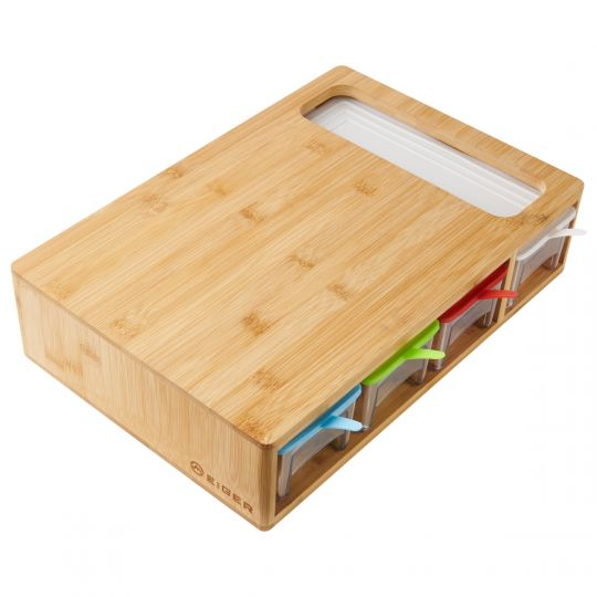 Eiger - Bernese Bamboo Cutting Board With Storage Drawers