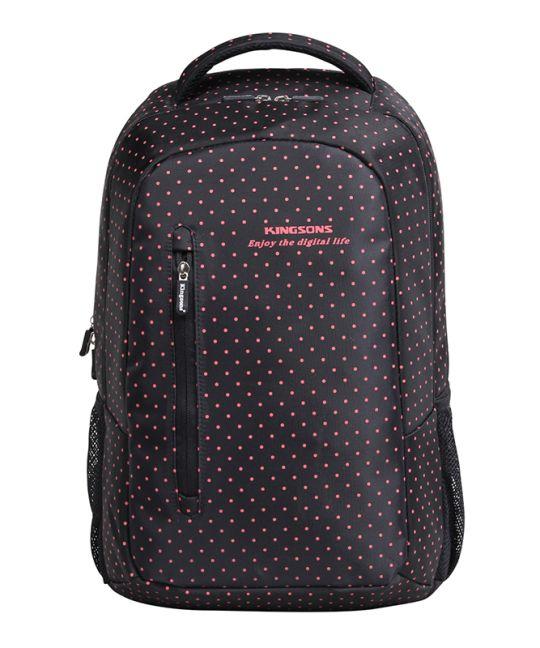 """Kingsons - 15.6"""" Black Match Red Laptop Backpack"""