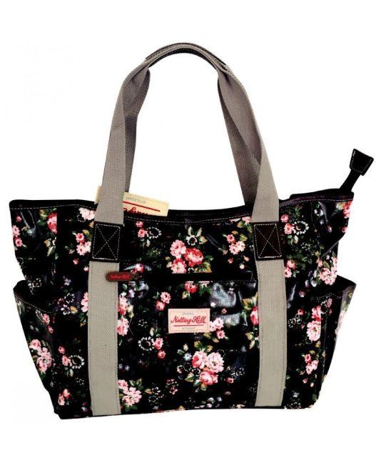 Notting Hill - Large Canvas Handle Handbag (Black Floral)