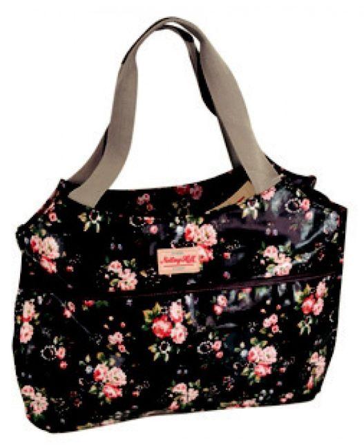 Notting Hill - Side Pocket Handle Handbag (Black Floral)