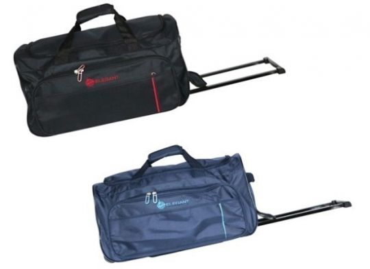 Elegant - Rolling Duffel Bag With Pull Out Handle (Navy)