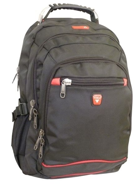 "Tosca - 15"" Classic Deluxe Laptop Backpack With Steel Handle (Black)"